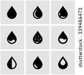 Vector Black Drop Icon Set.