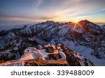 Sunrise from the rugged mountain summit, High Tatras, Slovakia