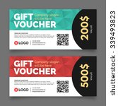 gift voucher template  set of... | Shutterstock .eps vector #339493823