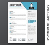 cv  resume template  vector... | Shutterstock .eps vector #339494699