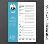 cv  resume template  vector... | Shutterstock .eps vector #339494723