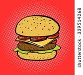 burger comic book style pop art ...   Shutterstock .eps vector #339514268
