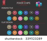 big set of 24 poker chips in 12 ...