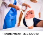 injury leg. young man with... | Shutterstock . vector #339529940