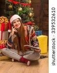 Beautiful Girl In Santa Hat...