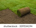 Gardener Applying Turf Rolls I...