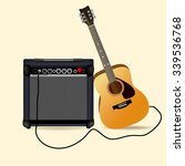 amplifier and acoustic guitar | Shutterstock .eps vector #339536768