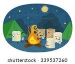 marshmallows camping   cute... | Shutterstock .eps vector #339537260