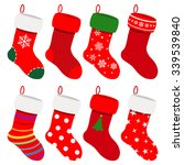 Set Of Christmas Socks In Red...