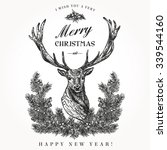 vintage christmas card. deer... | Shutterstock .eps vector #339544160