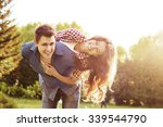 lifestyle  happy couple of two...   Shutterstock . vector #339544790