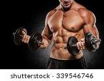 muscular bodybuilder guy doing... | Shutterstock . vector #339546746