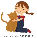 happy girl with her pet cat | Shutterstock .eps vector #339555719