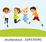 happy jumping kids | Shutterstock .eps vector #339570590