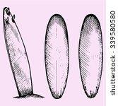 set of surfboard  doodle style  ... | Shutterstock .eps vector #339580580