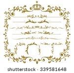 christmas gold frame set vector | Shutterstock .eps vector #339581648