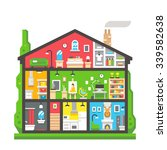 flat design home interior side... | Shutterstock .eps vector #339582638