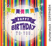 happy birthday colorful card... | Shutterstock .eps vector #339594854