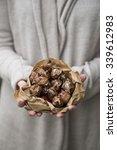 a woman holding a paper bag... | Shutterstock . vector #339612983
