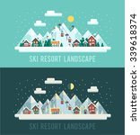 set of winter landscapes. ski... | Shutterstock .eps vector #339618374