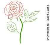 Stock vector red rose isolated on white vector illustration 339621056