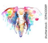 watercolor elephant portrait on ... | Shutterstock . vector #339633089