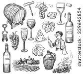 hand drawn sketch vector wine... | Shutterstock .eps vector #339642854