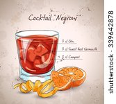 negroni alcoholic cocktail ... | Shutterstock .eps vector #339642878