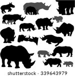 rhino silhouette vector set | Shutterstock .eps vector #339643979