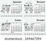 2016 year hand drawn calendar ... | Shutterstock .eps vector #339667394