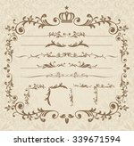 decorative gold frame set... | Shutterstock .eps vector #339671594
