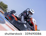 young man go kart racer is... | Shutterstock . vector #339690086