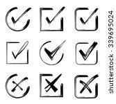 Hand Drawn Check Mark Icons...
