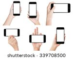 hand hold black modern smart... | Shutterstock . vector #339708500