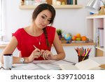 female student at workplace... | Shutterstock . vector #339710018