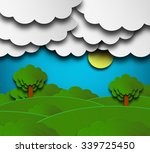 cloudy summer background with... | Shutterstock . vector #339725450