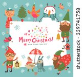 christmas background with cute... | Shutterstock .eps vector #339741758