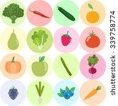set of fresh healthy vegetables ... | Shutterstock .eps vector #339758774