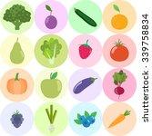 set of fresh healthy vegetables ... | Shutterstock .eps vector #339758834