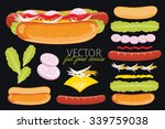 hot dog ingredients and hot dog ... | Shutterstock .eps vector #339759038