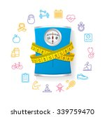 blue bathroom scale. fitness... | Shutterstock .eps vector #339759470