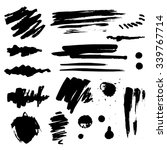 set of black blots and ink... | Shutterstock .eps vector #339767714