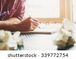 hand writing in notebook with... | Shutterstock . vector #339772754