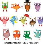 set of vector cartoon birds owls | Shutterstock .eps vector #339781304