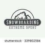 vintage snowboarding logo ... | Shutterstock .eps vector #339802586