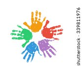 handprint flower. kids palm...   Shutterstock .eps vector #339811976