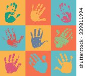 Handprint Poster In Flat Style...