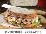 turkey sandwich freshly made... | Shutterstock . vector #339812444