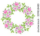 circlet of rose flowers and... | Shutterstock . vector #339818480