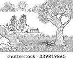 hand drawn seascape zentangle... | Shutterstock .eps vector #339819860